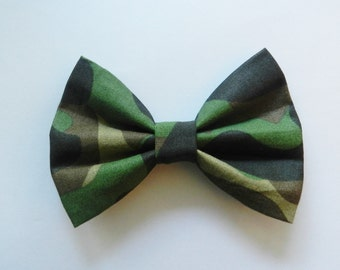 Small Army Military Camouflage Fabric Hair Bow Clip Barrette