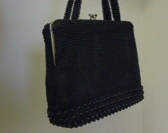 Vintage 1950s Black Beaded Purse Mid Century Handbag