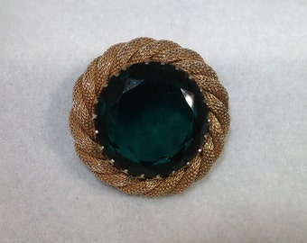 Large Green Stone Mesh Brooch