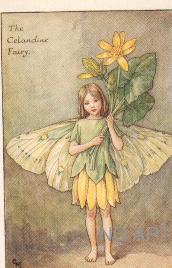 Antique Childrens Print Fairy Print 1920s Kids Print Barker