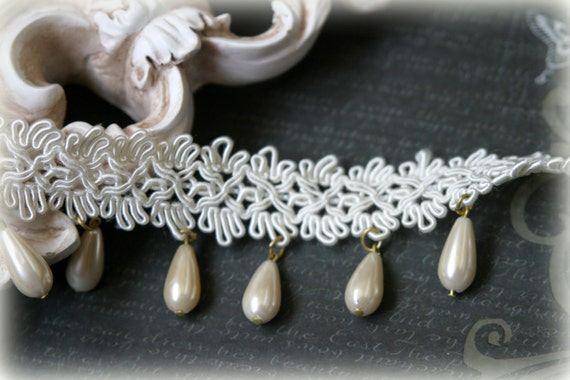Lace Trim Beaded for Bridal Crafting Lace Trim with Pearl Drop Edging LA-005