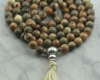 Machali Mala 108 Jasper Mala Beads Buddhist Prayer Beads for Comfort and Relaxation