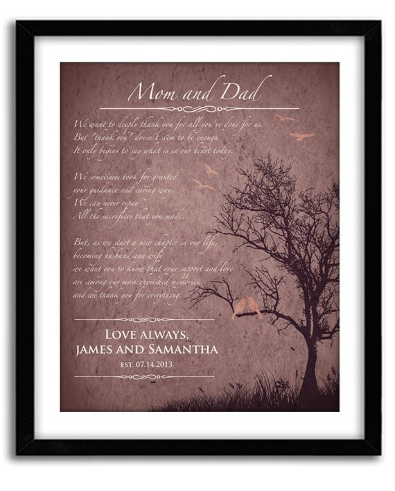 Parent Wedding Gifts Thank You: Parents Wedding Gift Personalized Thank You Gift For In Laws