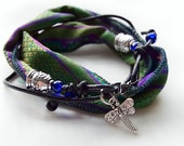 Green and Purple Silk Sari and Leather Wrap Bracelet/ Handmade Silk and Leather Wrap Bracelet