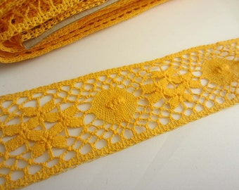Mustard Yellow Crochet StyleTrim - 50mm wide - cut to length - METERS