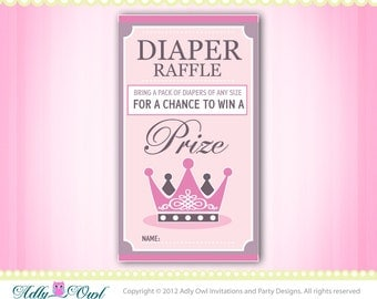 Little Princess Royal Diaper Raffle Tickets Printables for Baby Girl Shower DIY  - ONLY digital file - you print