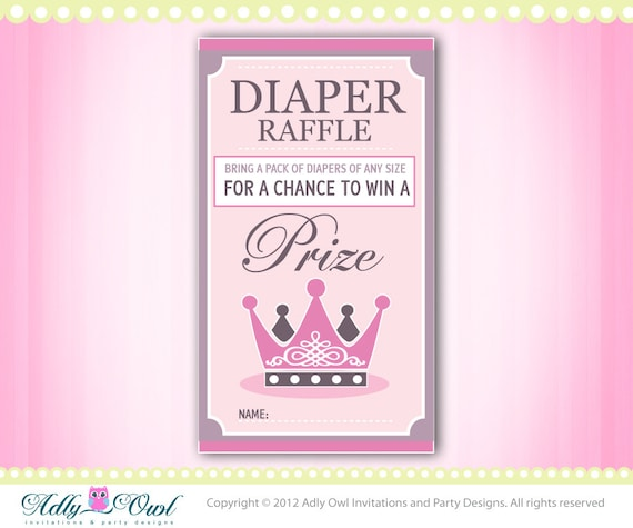 Princess Royal Diaper Raffle Tickets Printables for Baby Girl Shower ...