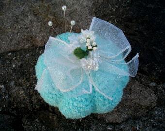 Bubble Gum Blue Pincushion with Bow