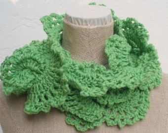 Hand Crocheted Scarf in Lime Green for Spring