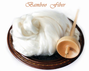 Bamboo Top Roving Wool Spinning Felting Undyed Fiber - 4 oz 8 oz 1 lb