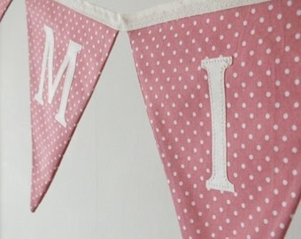 Pink Dotty Personalised Bunting, girls nursery decoration