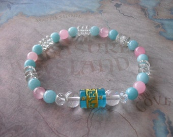 Carved ( om ) blue quartz & aquamarine bracelet