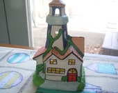 Sweet Little Ceramic Lighthouse with Tea Light Candle to shine through