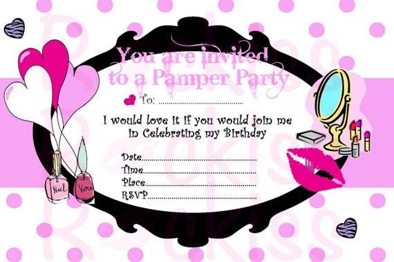 items similar to pamper party invitation- make-up party ready for, Party invitations