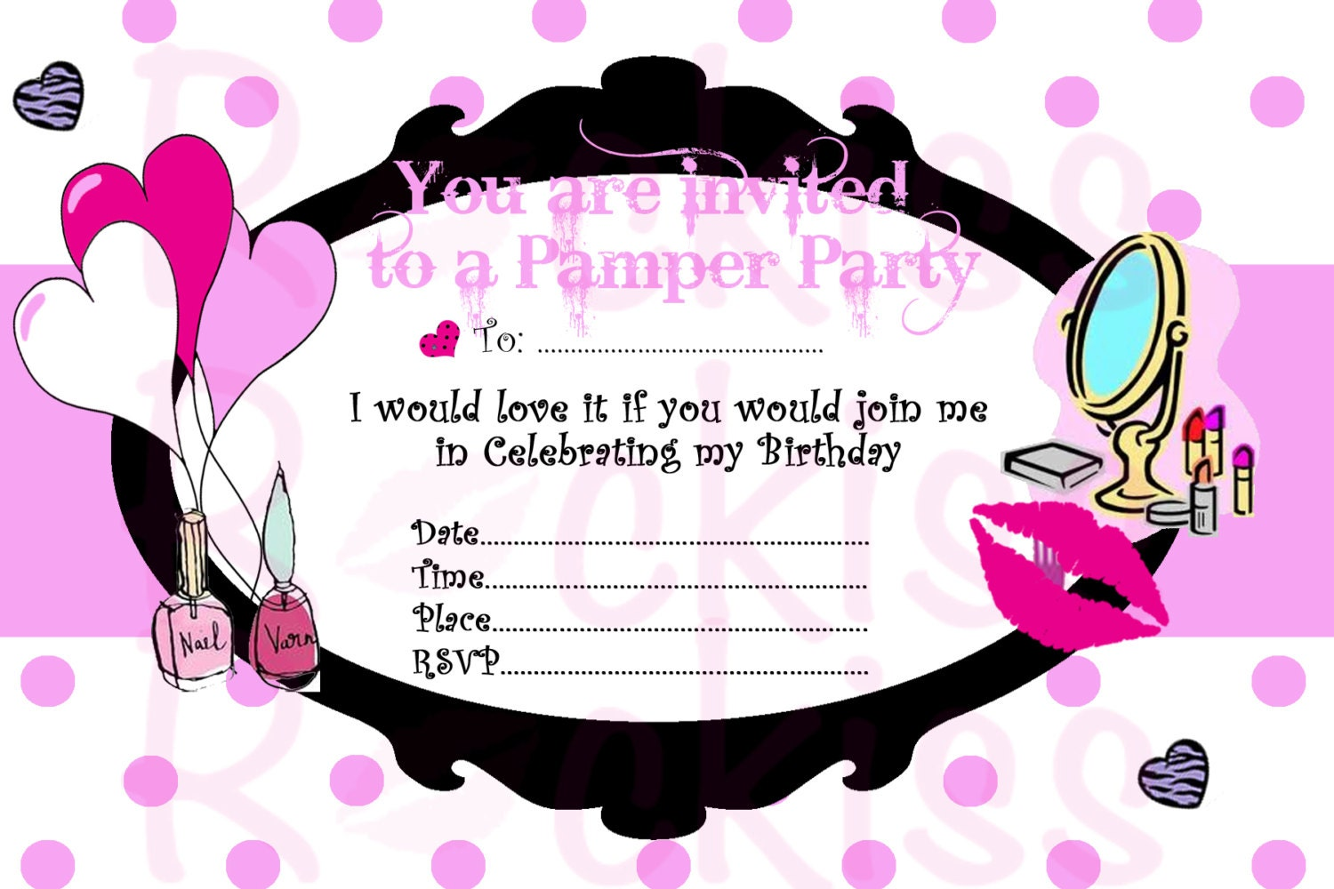 Pamper Party Invitation make-up party ready for an by ...