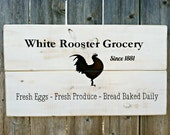 Made to Order Vintage Style White Rooster Grocery Handmade Distressed Wooden Sign - Kitchen Decor