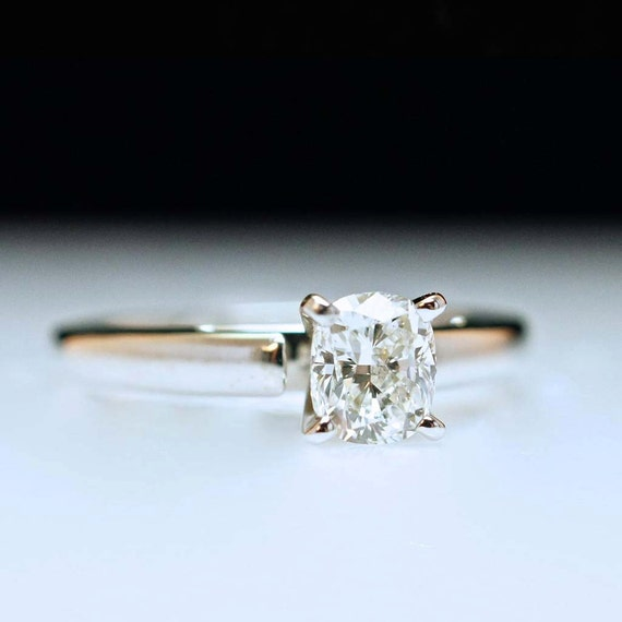 Solitaire Diamond Engagement Ring in 18k White Gold- Cushion Cut Diamond - Size 7 - Free Resizing - Layaway Options