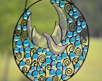 """Religious Stained Glass Window.  12"""" Round.  'Fly Away'"""