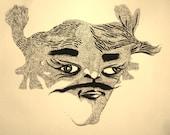 Lazy Eye Samurai - Original ink illustration by Olympia-based artist Matt Smith - Surreal, Impressionist, funny sumi brush and pen art