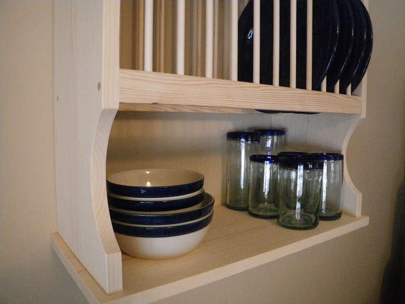 Wall Mounted 12 Plate Rack by NicoletWoodProducts on Etsy