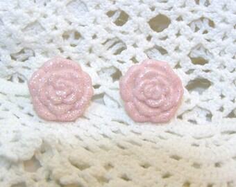 Pink Glittery Rose Stud Earrings, Rose Earrings, Rose Jewelry