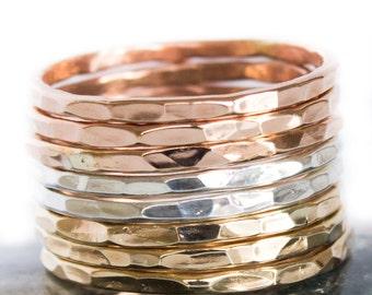 Set of 3 Metal Rings - Tri Color Set