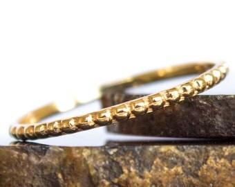 Thin Wedding Band - 14k Beaded Stacking Ring Thin Gold Ring Sz 3 thru 8