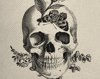 Butterfly Skull Engraving  Digital Collage Graphic Fabric Transfer Tote Bag Iron On Digital Download No. 224