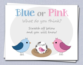 Gender Reveal Scratch Off Cards - Birds and Nest - 4 Cards PLUS 4 Envelopes