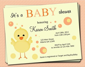 Chick Baby Shower Invitation -  (8 Invitations and 8 Envelopes)