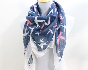 Navy Blue Seagull Scarf, Bird Square Scarf, Fall Scarf, Fashion Scarf, Gift for Women, Christmas Gifts, For Her, For Women, Womens Scarves