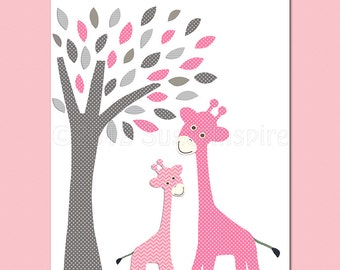 pink and grey giraffe Nursery Art,  nursery room decor,  8x10, kids room decor, nursery wall decor