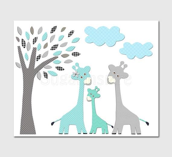 Aqua And Grey And Teal Giraffe Nursery Art Print 8x10 Baby
