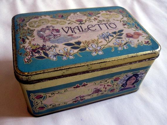Vintage Italian Cookie Tin 1970s Box Metal Container
