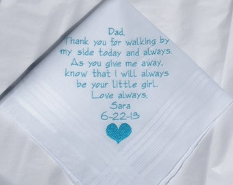 Father of the Bride Gift from the Bride Personalized Wedding Handkerchiefs By Napa Embroidery