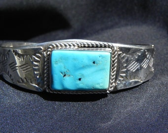 Vintage Cuff Bracelet Native American  Sterling Silver With Turquoise Setting Marked Juan