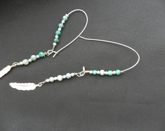 Handcrafted Pierced Earrings Long Loops With Small Turquoise Beads and Feathers