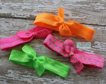 4 No Tug Elastic Hair Ties - Neon Pink Green Orange and Polka Dot Ponytail Holders - Hairties