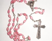 Vintage Rosary Beads pink French Mary Jesus 59 beads flat Catholic Rosary rectangular bead
