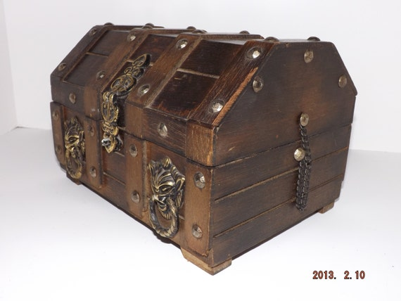 Wood Pirate Chest ~ Vintage wood pirate treasure chest jewelry box with red