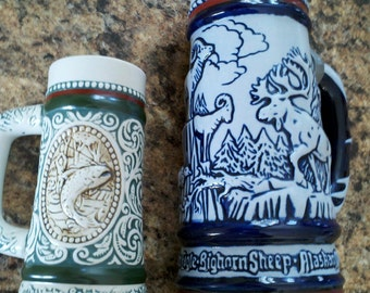 Avon steins sporting themes handcrafted in Brazil collectible