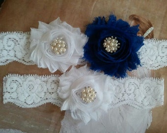 Wedding Garter, Bridal Garter, Garter - White/Royal Blue Flowers on a White Lace with Pearl & Rhinestone - Style G2027