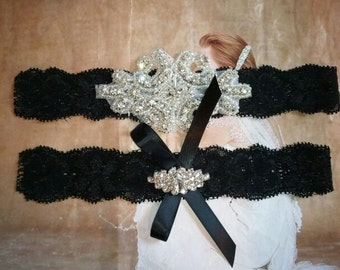 SALE - Wedding Garter Set -Rhinestone Garter Set on a Black Lace - Style G10035