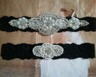 SALE - Wedding Garter Set -Pearl & Rhinestone Garter Set on a Black Lace - Style G10036