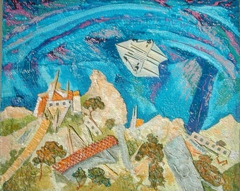 Landscape with an Aircraft, oil painting, mixed media, assemblage