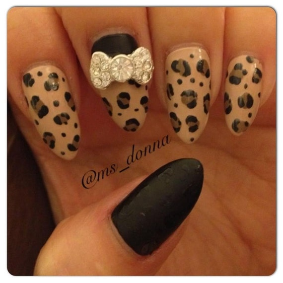 Black Matte & Leopard Print Stiletto Press-On Nails with Crystal Bow
