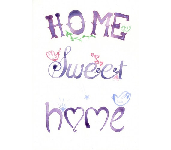 Items similar to original watercolor painting home for Home sweet home quotes