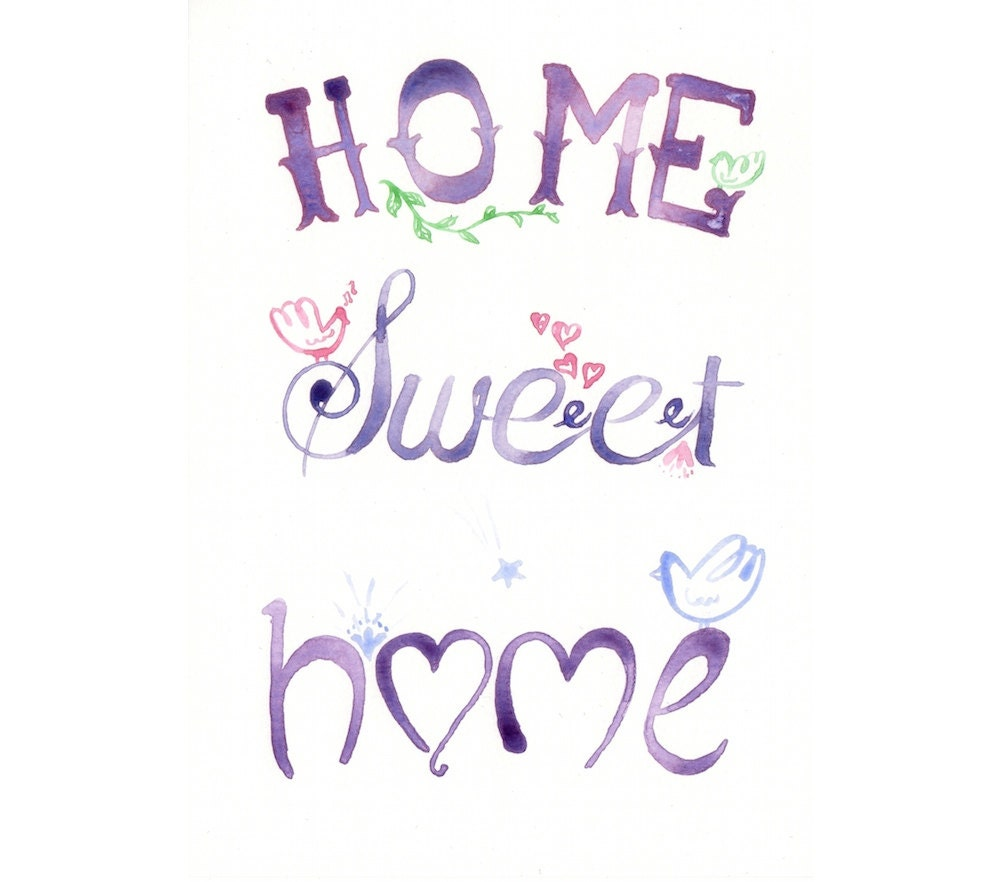 Original watercolor Painting Home Sweet HOme Quote by MilkFoam