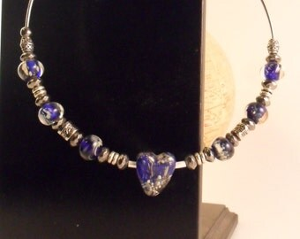 Skies of Blue lampwork heart necklace