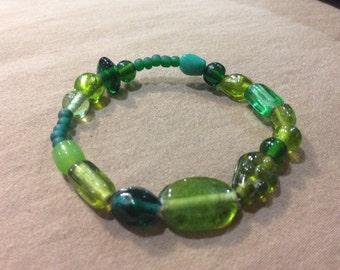 Green Bracelet One-of-a-Kind Beaded Bracelets- GREEN